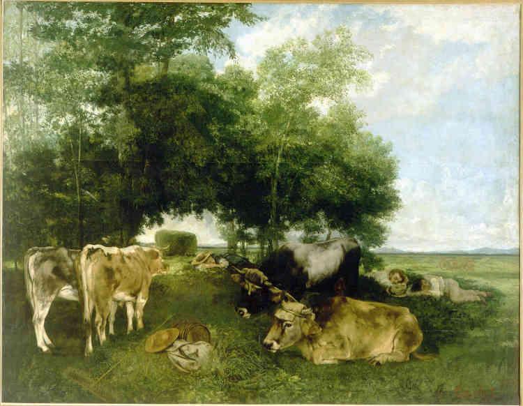 «Première œuvre du peintre à entrer dans les collections de la Ville de Paris, cette évocation de l'été franc-comtois donne, en cet instant de repos, une vision sereine de la vie paysanne et magnifie la campagne dans laquelle le peintre a grandi.»