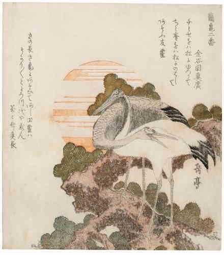 «Cette œuvre est l'une des plus belles de Gakutei (1786-1868), le grand maître du surimono [estampe tirée à peu d'exemplaires, souvent accompagnée d'un poème, envoyée pour convier à une fête, un concert ou célébrer un événement]montrant une grue sur une branche de pin. En Extrême-Orient, les deux motifs ‒ une grue et un pin‒ sont un symbole de longévité.»