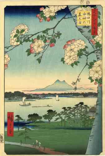 """« Les """"Cent Vues célèbres d'Edo""""(""""Meisho Edo hyakkei"""") est la dernière grande série de paysages d'Utagawa Hiroshige (1797-1858), éditée pendant les années 1856-1859. Elle comporte en totalité cent dix-huit compositions d'un format vertical ōban (ōban tate-e).»"""