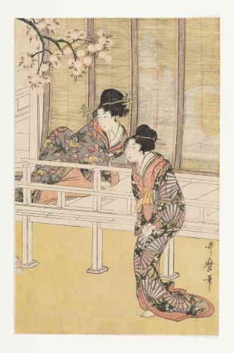 « Utamaro a su trouver sa propre expression artistique: la forme du visage, la ligne d'un long cou et des épaules délicates, le noir des cheveux qui forme un motif réfléchi de lignes et de taches de couleur, sont autant de caractéristiques qui lui sont propres.»