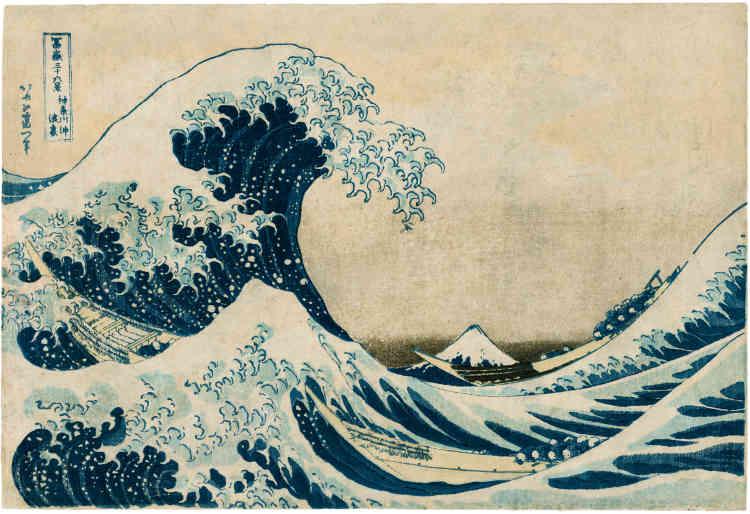 """«La composition connue sous le nom """"La Grande Vague à Kanagawa"""" en est l'icône au niveau mondial. Dans la collection Leskowicz, on peut admirer la gravure de la première édition de la série.»"""