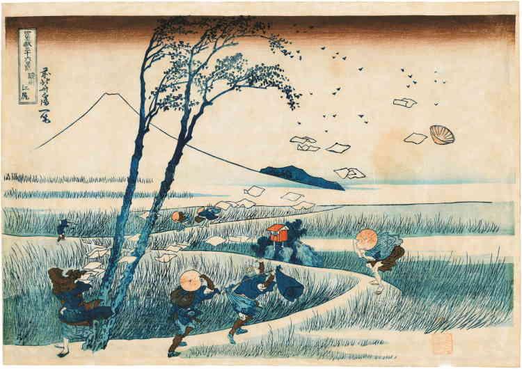 """«Les """"Trente-Six Vues du mont Fuji"""" (""""Fugakusanjūrokkei""""), une des séries les plus renommées d'estampes de paysage ukiyo-e, ont été créées par Katsushika Hokusai (1760-1849) au cours des années 1829-1833 et comptent au total 46 gravures d'un format horizontal.»"""