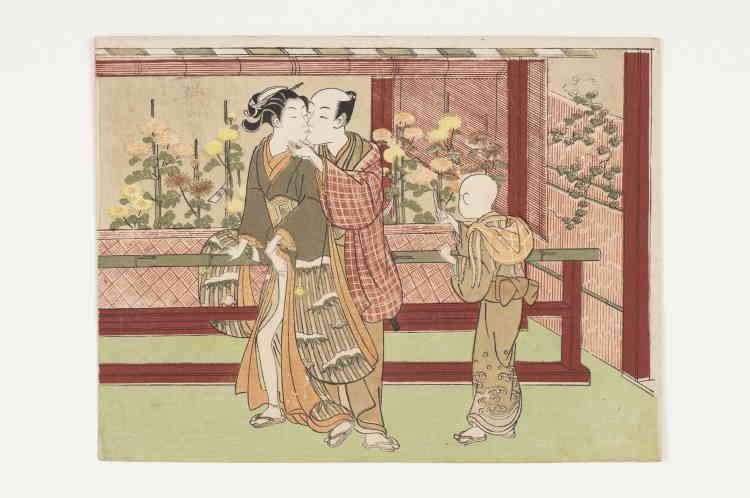 «Un autre grand artiste de la période primitive de l'ukiyo-e mérite notre attention : Ippitsusai Bunchō (actif d'environ 1755 à 1790). Très influencé par l'art de Harunobu, il pratiquait son art aux côtés d'autres maîtres du genre, tel que Isoda Koryūsai (1735-1790).»