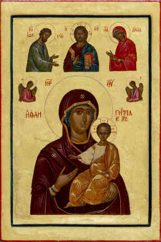 «La Vierge qui-montre-le-chemin est un des types de représentation les plus anciens de la Mère de Jésus-Christ. Elle est représentée sur cette célèbre icône du monastère Sainte-Catherine, au mont Sinaï, avec deux anges et une représentation de la Déisis, la Vierge et saint Jean-Baptiste de part et d'autre du Christ, symboles de l'Eglise implorante. A Constantinople, la Mère de Dieu serait apparue à deux aveugles. Les prenant par la main, elle les a, comme sur l'icône, conduit vers son fils au célèbre monastère et sanctuaire de l'Hodigitria, où ils ont recouvré la vue.»