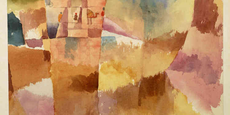 """«En 1914, Paul Klee, August Macke et Louis Moilliet entreprennent leur premier voyage en Tunisie. La lumière solaire et les couleurs des architectures comme celles du paysage, bien éloignées de ce qui entoure ses origines suisses, frappent intensément Klee. Il écrit dans son journal : """"Moi et la couleur, nous ne formons plus qu'un."""" Et c'est bien la couleur, lentement mais sûrement, qui detourne son travail de toute figuration.»"""