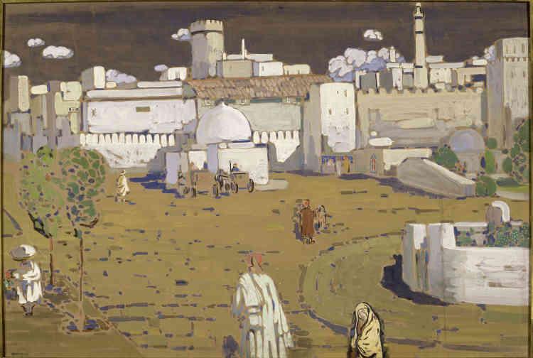 «Parmi les œuvres précoces de Vassily Kandinsky, Arabische Stadt continue dans la lignée des représentations de contes russes dont la touche s'inspire de l'impressionnisme qu'il admire, tout ens'en détachant par une luminosité et des couleurs plus chaudes, plus vivantes que l'abstraction géométrique pour laquelle son œuvre est aujourd'hui connue.»