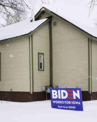 A Des Moines, une pancarte de soutien au candidat démocrate Joe Biden, le 25 janvier.