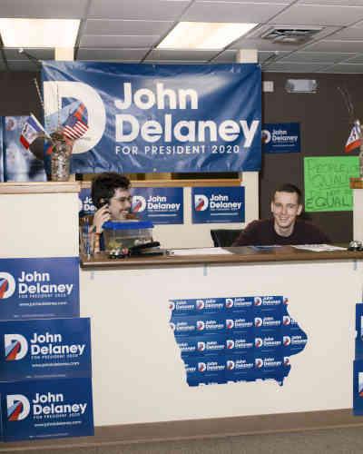 Le bureau de campagne du candidat démocrate John Delaney à Des Moines, le 24 janvier.