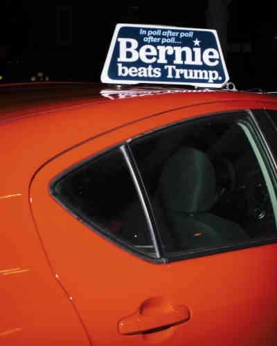 Une pancarte de soutien au candidat démocrate Bernie Sanders à Iowa City, le 24 janvier.
