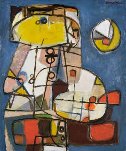 """«En 1950, Corneille s'installe définitivement à Paris. Il refuse l'opposition entre abstraction et figuration, qui divise la scène parisienne. Il peint avec humour des compositions presque abstraites qu'un œil, une bouche ou une main transforment en un personnage, comme le rappelle le titre de cette œuvre, """"Scène familiale"""", de 1950.»"""