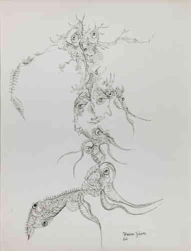 «Transformation, nouvelles connexions, absence de clôture sont menées par une ligne mouvante qui serpente en arabesque. Ascendante, elle participe à la construction de motifs pyramidaux qui amènent à un écrasement délicat des éléments empilés pour mieux créer une autre image.»