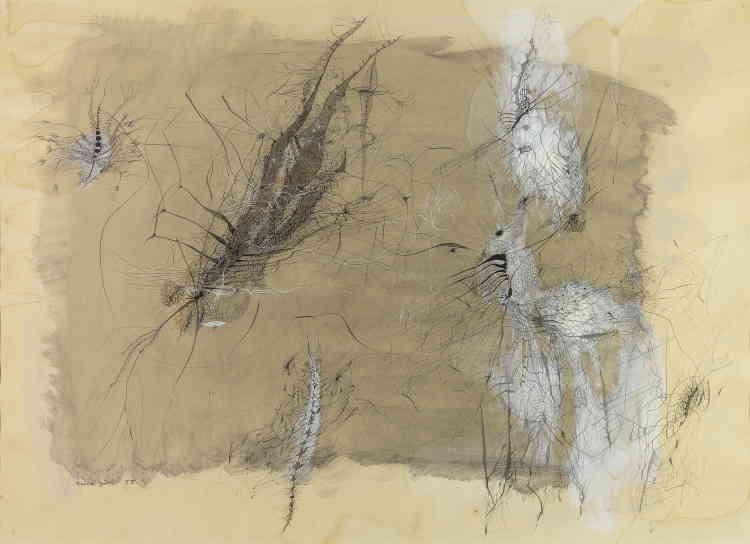 «Dans ce dernier dessin, il est remarquable d'assister aux premiers éléments du monde habité de façon polymorphe – dialogue entre l'homme et l'animal dans une atmosphère singulière – de l'artiste.»