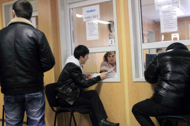February 2012. Russia. Moscow. Migrants from Central Asia in employment office (photo by Yuri Ivaschenko)