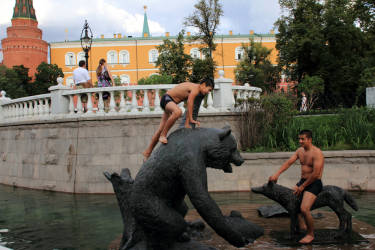 August 2012. Russia. Moscow. Children of migrants play near Kremlin wall (photo by Yuri Ivaschenko)