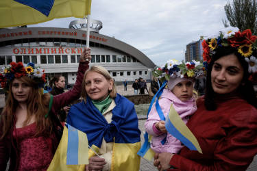 Women came to the peaceful pro-Ukrainian demonstration near stadium Olimpiyski in Donetsk, Eastern Ukraine.