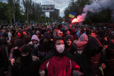 Football fans lead the peaceful pro-Ukrainian march started from the stadium Olimpiyski in Donetsk, Eastern Ukraine.
