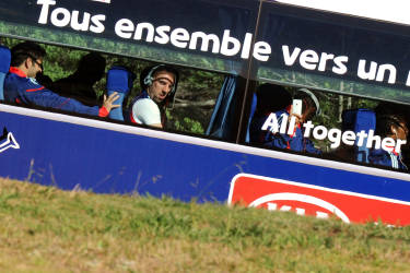 France's forward Franck Ribery looks outside the bus, as the team arrives for a training session at the Fields of Dreams stadium in Knysna on June 10, 2010 ahead of the start of the 2010 World Cup football tournament in South Africa.  AFP PHOTO / PATRICK HERTZOG