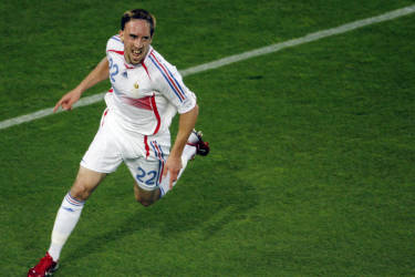 French forward Franck Ribery celebrates after scoring a goal during the World Cup 2006 round of 16 football game Spain vs. France, 27 June 2006 at Hanover stadium. AFP PHOTO / ARIS MESSINIS